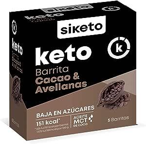 Siketo - Barrita cacao y avellanas, Snack, Caja con 5 barritas, Complemento alimenticio para dieta cetogénica (keto)