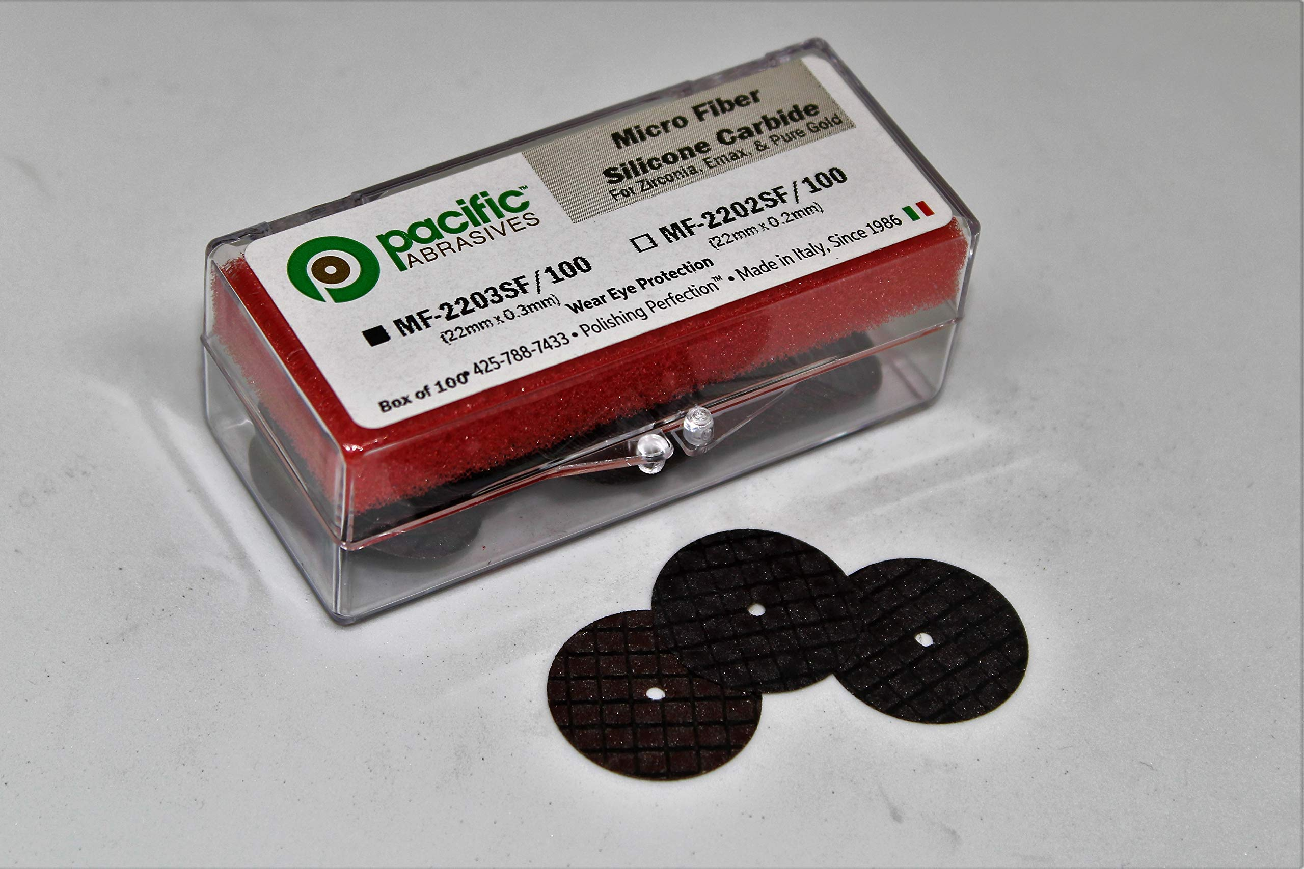 Pacific Abrasives Micro Fiber Separating Disc Silicon Carbide for Cutting Porcelain, Zirconia, and Pure Gold. (Pack 0f 100)
