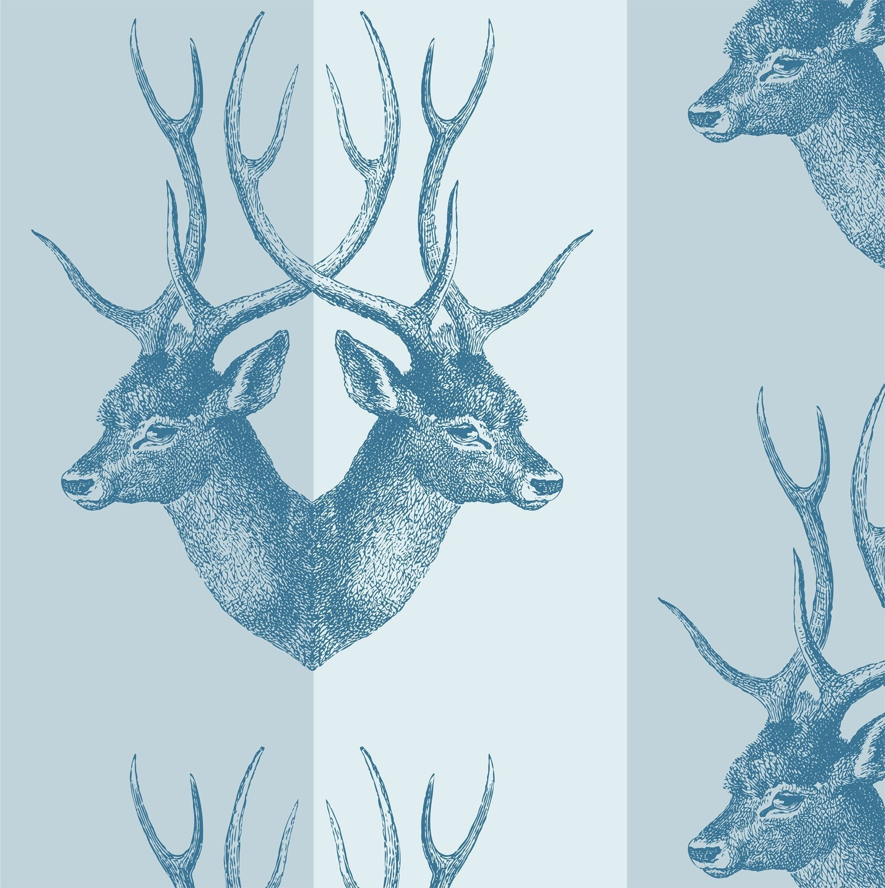 Mitchell Black Stag Wallpaper in Blue Steel