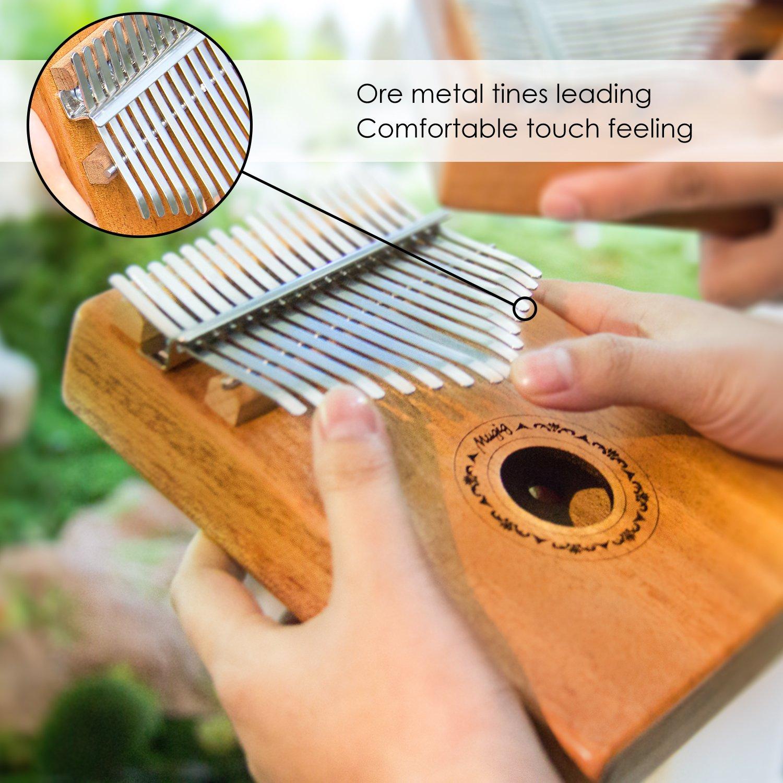 Mugig Kalimba Mbira Sanza 17 keys Thumb Piano Mahogany Body Ore Metal Tines, with Instruction and Tune Hammer Portable and Easy-to-learn