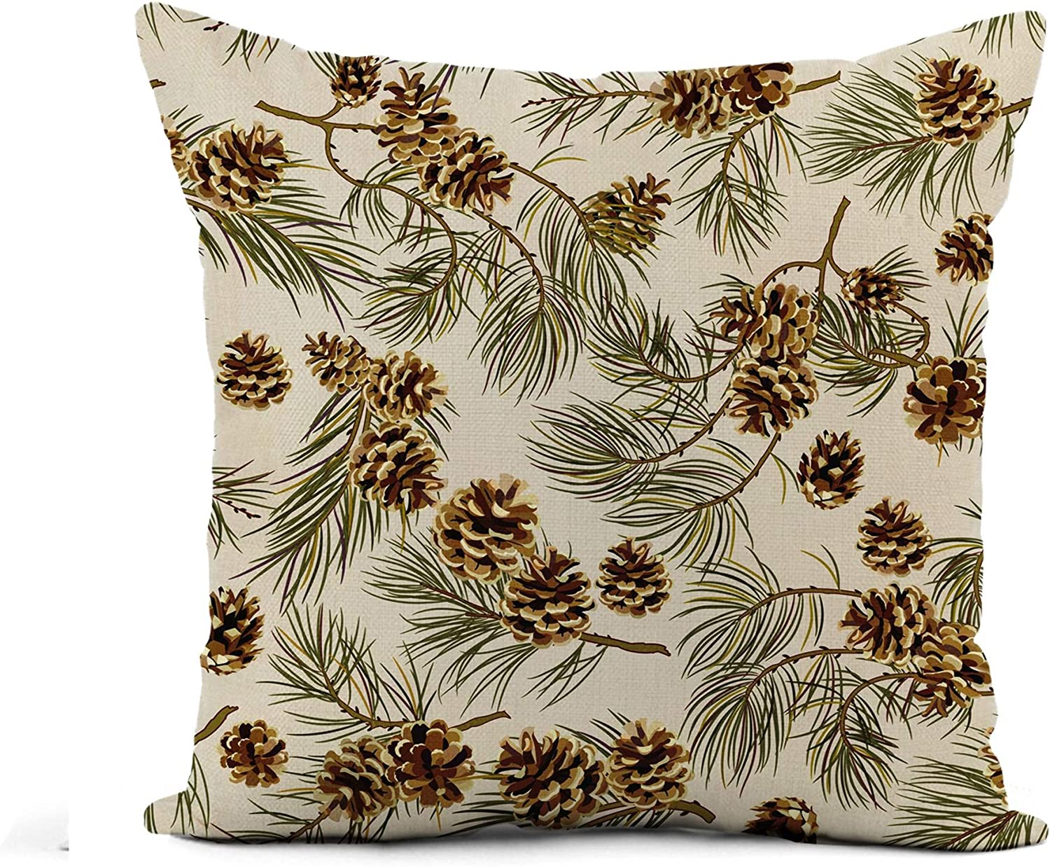 Awowee Flax Throw Pillow Cover Green Pattern Pine Cones Realistic Look Vintage Pinecone Winter 18x18 Inches Pillowcase Home Decor Square Cotton Linen Pillow Case Cushion Cover