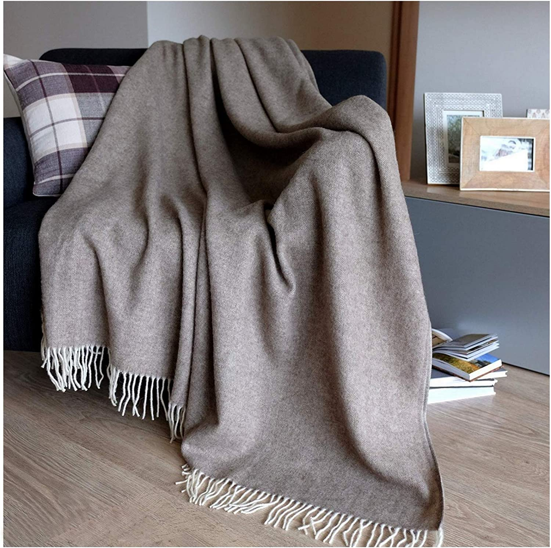 Linen & Cotton Manta Sofa/Mantas de Cama STONEWOLD - 100% Pura Lana Merino, Marrón/Natural (140 x 200cm) Plaid/Blanket/Funda Single Matrimonial de Lana Oveja Ideal para el Invierno
