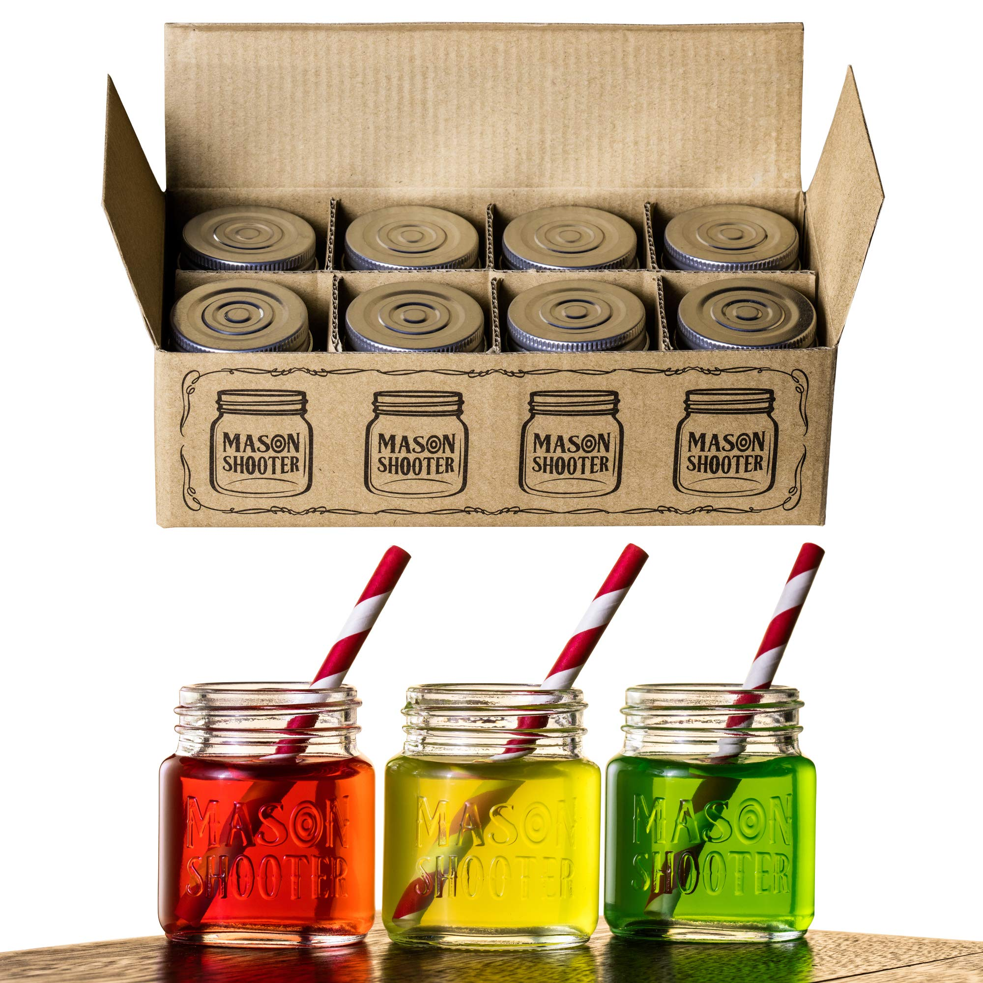Hayley Cherie - Mason Jar Shot Glasses with Lids (Set of 8) – Mini Mason Shooter Glass - 2 Ounces