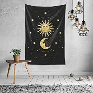 Hippie Wall Art Tapestry Wall Art Hand Made Wall Hanging Hd Printing Modern Home Decor-sun Moon Star For Bedroom Dorm Living Room Décor 60x40 Inches