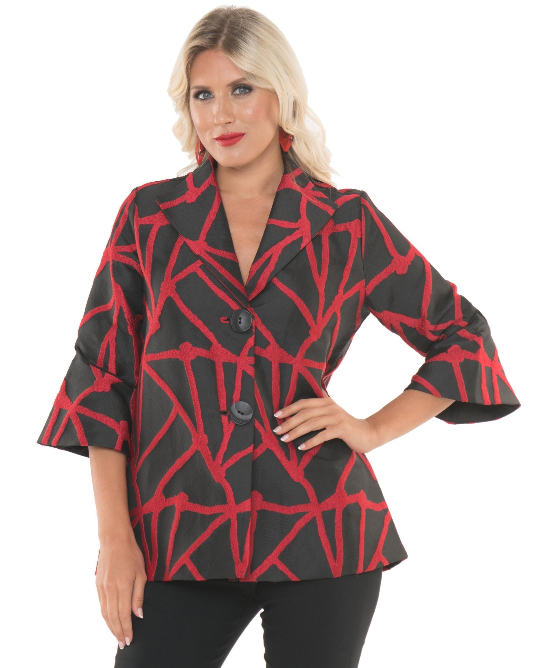 Lior Paris Women's Black Red Geometric Pattern Jacket Coat Blazer with Two bottom's and Swing Sleeves