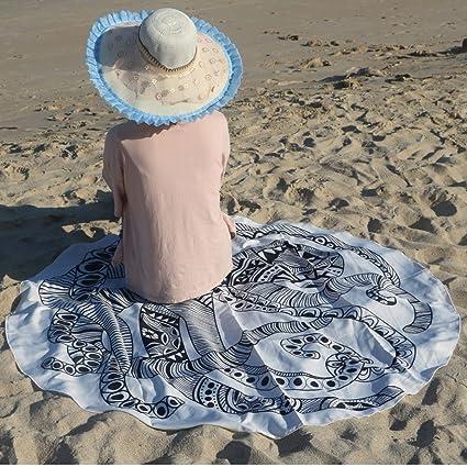 Verano Indio Mandala Redondo Toalla De Playa Hippie Letra Grande Flor Bata Acrílico Diámetro De 150