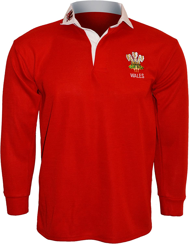 Camiseta polo Active Wear hombre, camiseta tipo rugby, manga larga, con emblema de Gales, tallas: S, M, L, XL, XXL, 3XL, 4XL, 5XL Rot - RED/WHITE COLOUR 3XL: Amazon.es: Deportes y aire