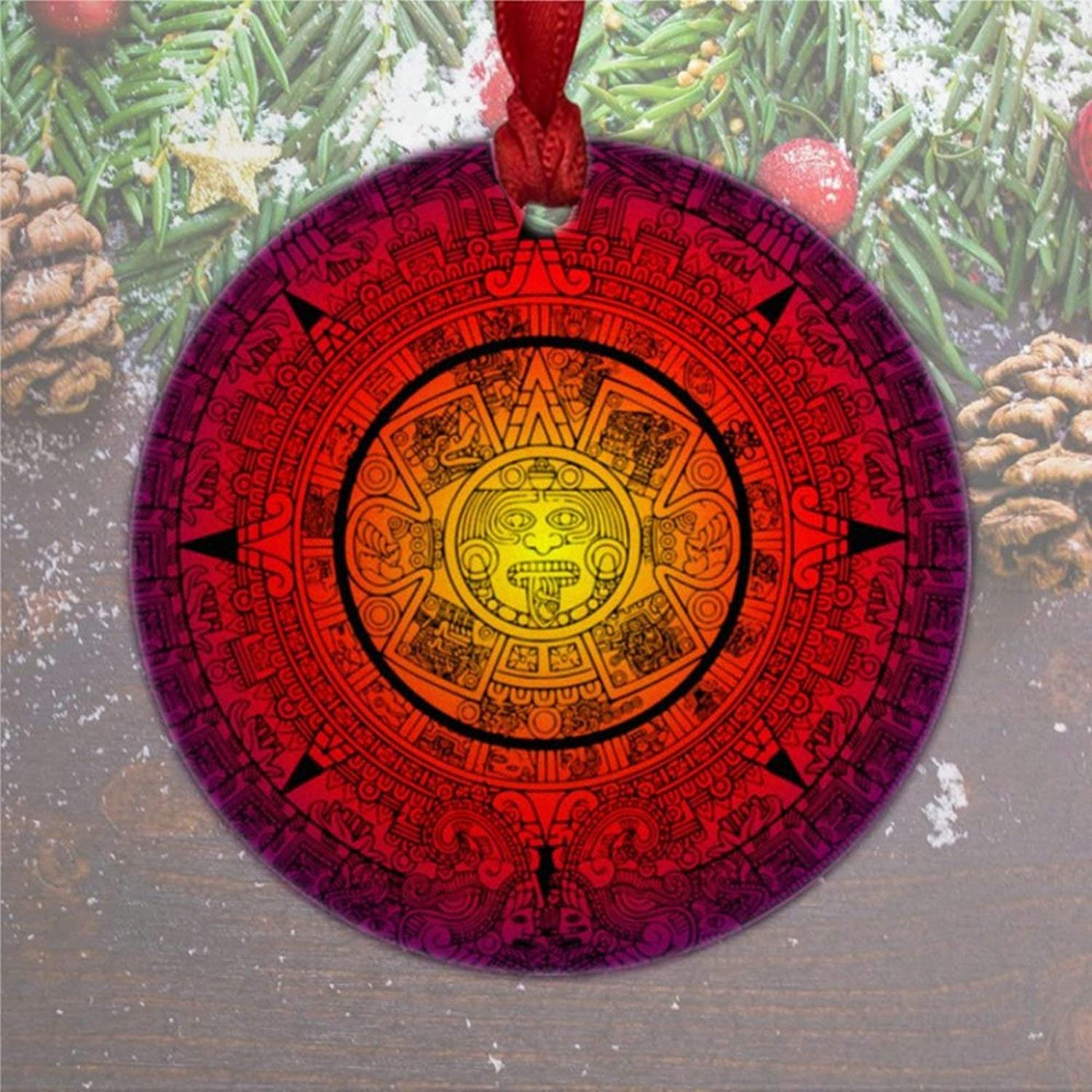 DONL9BAUER Mexican Christmas Ornaments Aztec Design Mayan Colors Hanging Ornament Xmas Tree Decorations Present for Family Friends 2020 A Year to Remember
