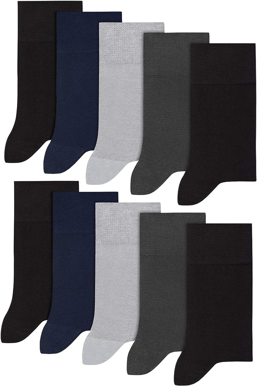 BeComfy Calze da Uomo di Cotone 5//10 Paia Calzini Buissnes Classic Non-Compressiva Grigio Nero Blu Scuro 40-48 EU