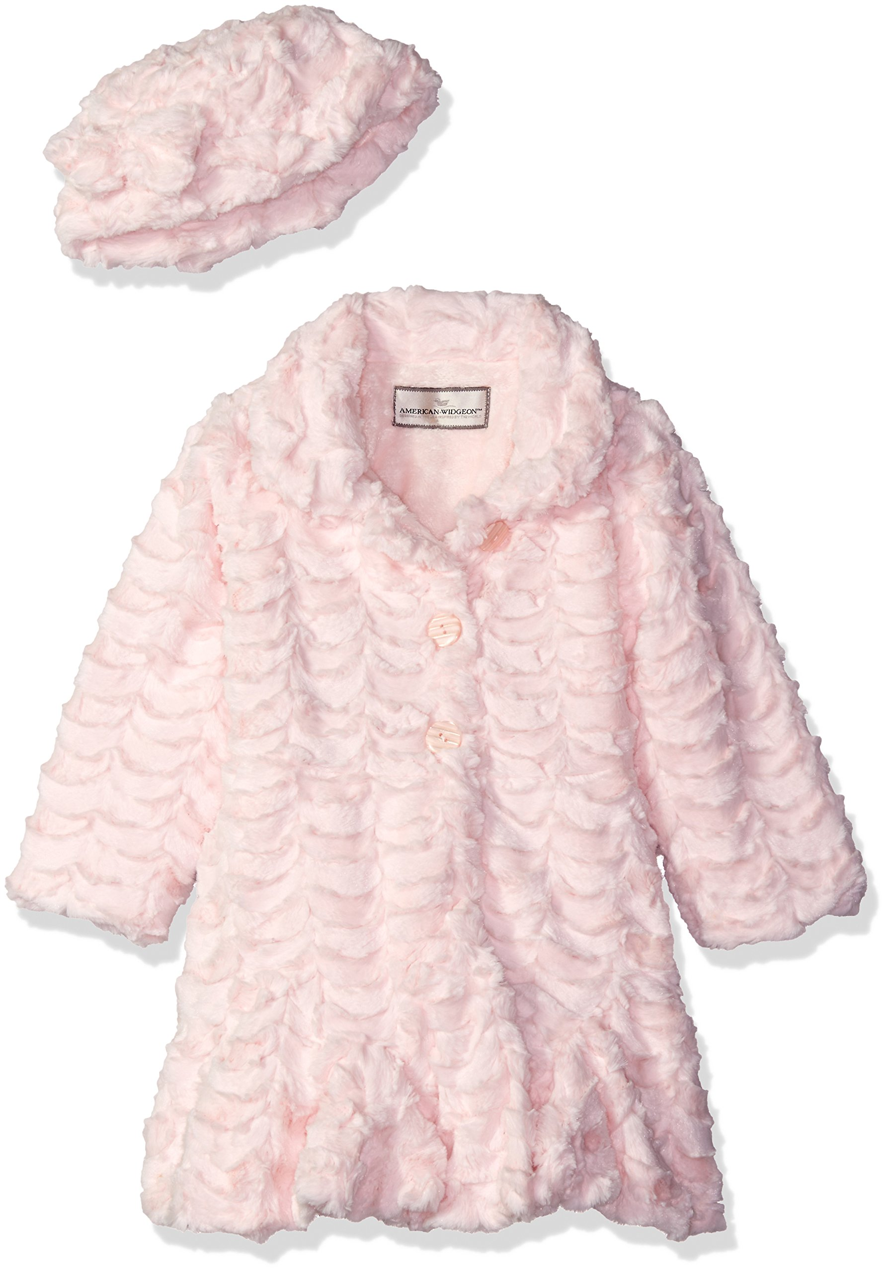 Widgeon Big Girls' Faux Fur Flounce Skirt Bottom Coat and Hat, Scallop Pink, 7