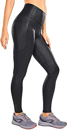 CRZ YOGA Women's Stretchy Faux Leather Leggings Yoga High Waisted Workout Tights with Pockets -28 Inches