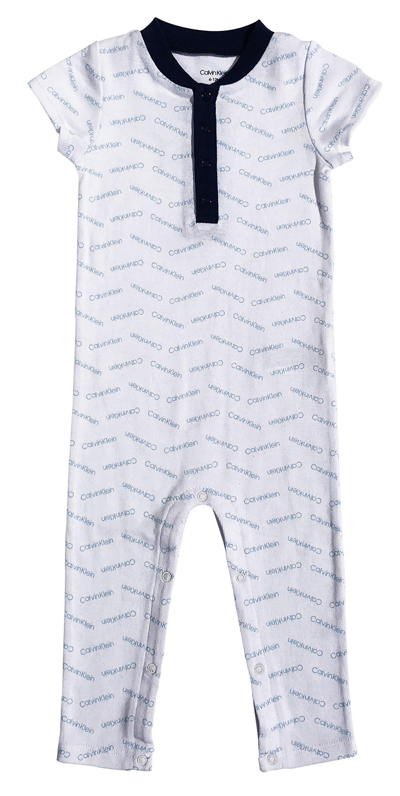 Calvin Klein Baby Boys Short Sleeve Shortall, ck