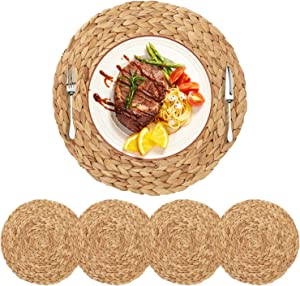 HomeDo 4Pack Extra Large Round Woven Placemats for Dining Table, Water Hyacinth Straw Braided Placemat, Heat Resistant Non-Slip Weave Placemats Handmade (Water Hyacinth-4pack, Round 14'')