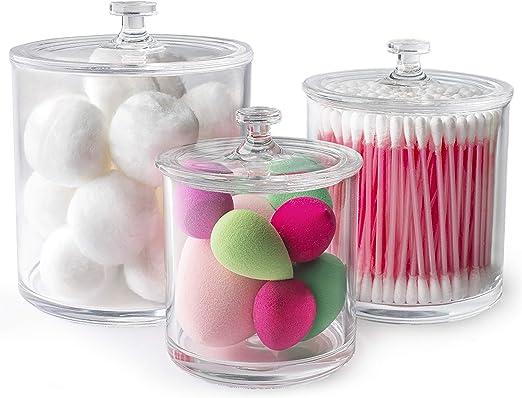 HIgh Quality Plastic Apothecary Jars w// Lids Set of 3 Acrylic Bathroom Organizer