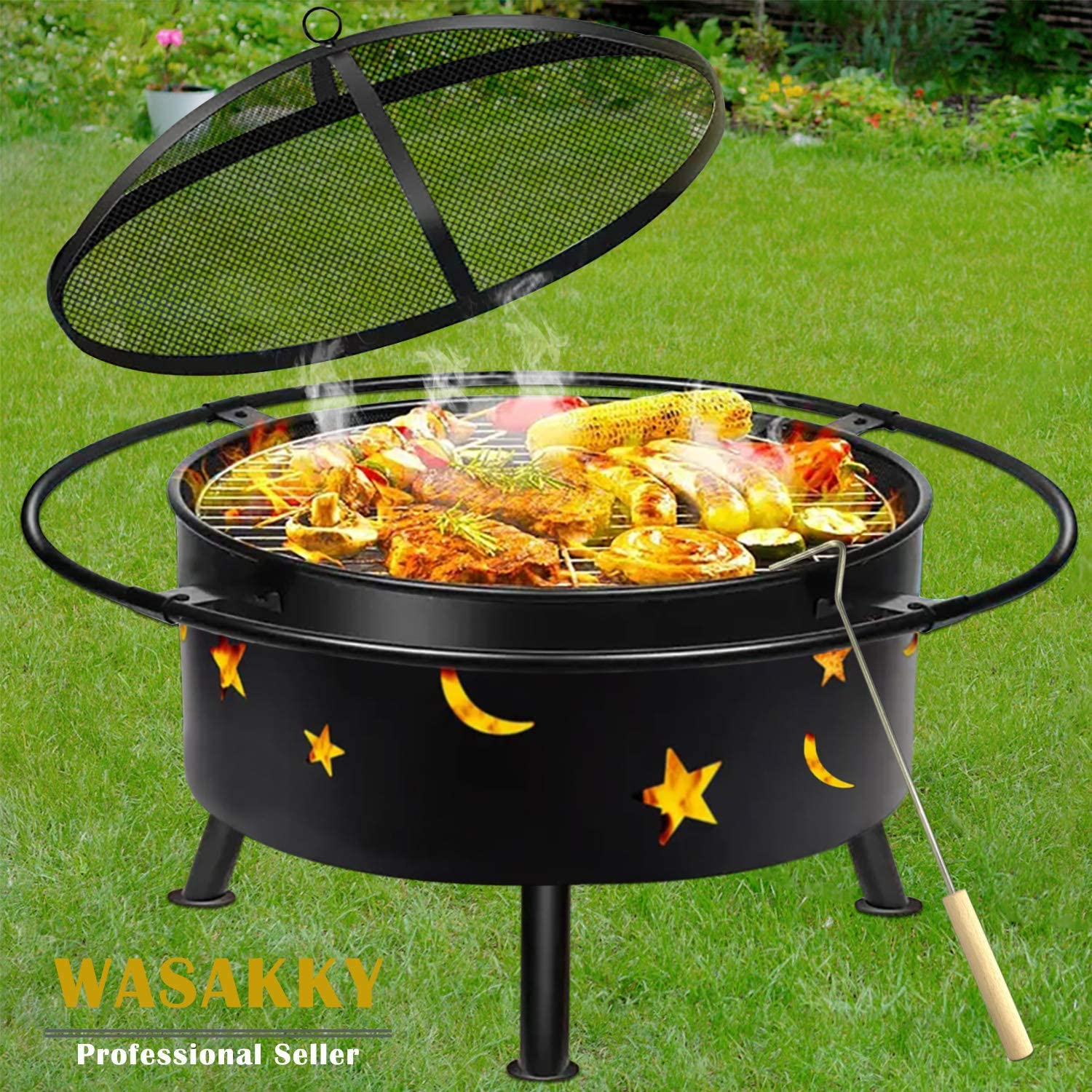"""Outdoor Fire Pits????Wood Burning Grill - 30"""" Round Steel Deep Bowl Firepit - Backyard Cosmic,Stars and Moons Firepit 2-in-1 for Outside Patio Cooking BBQ,Black"""