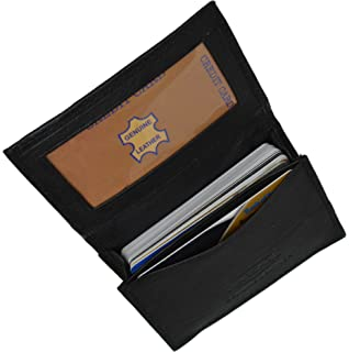 genuine leather expandable credit card outside id business card holder wallet 070bk - Leather Business Card Holder