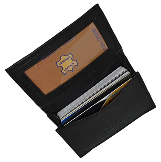 genuine leather expandable credit card outside id business card holder wallet 070bk - Business Card Holder Wallet