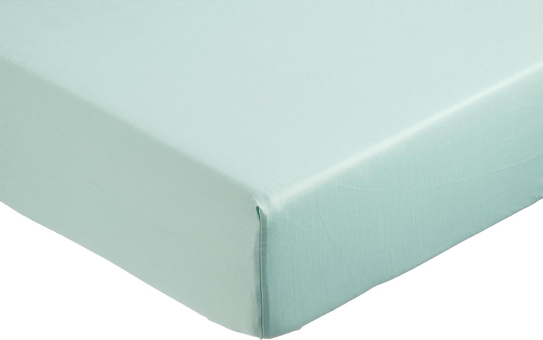 AmazonBasics - Sábana bajera ajustable (algodón satén 400 hilos, antiarrugas) Verde - 90 x 190 x 30 cm