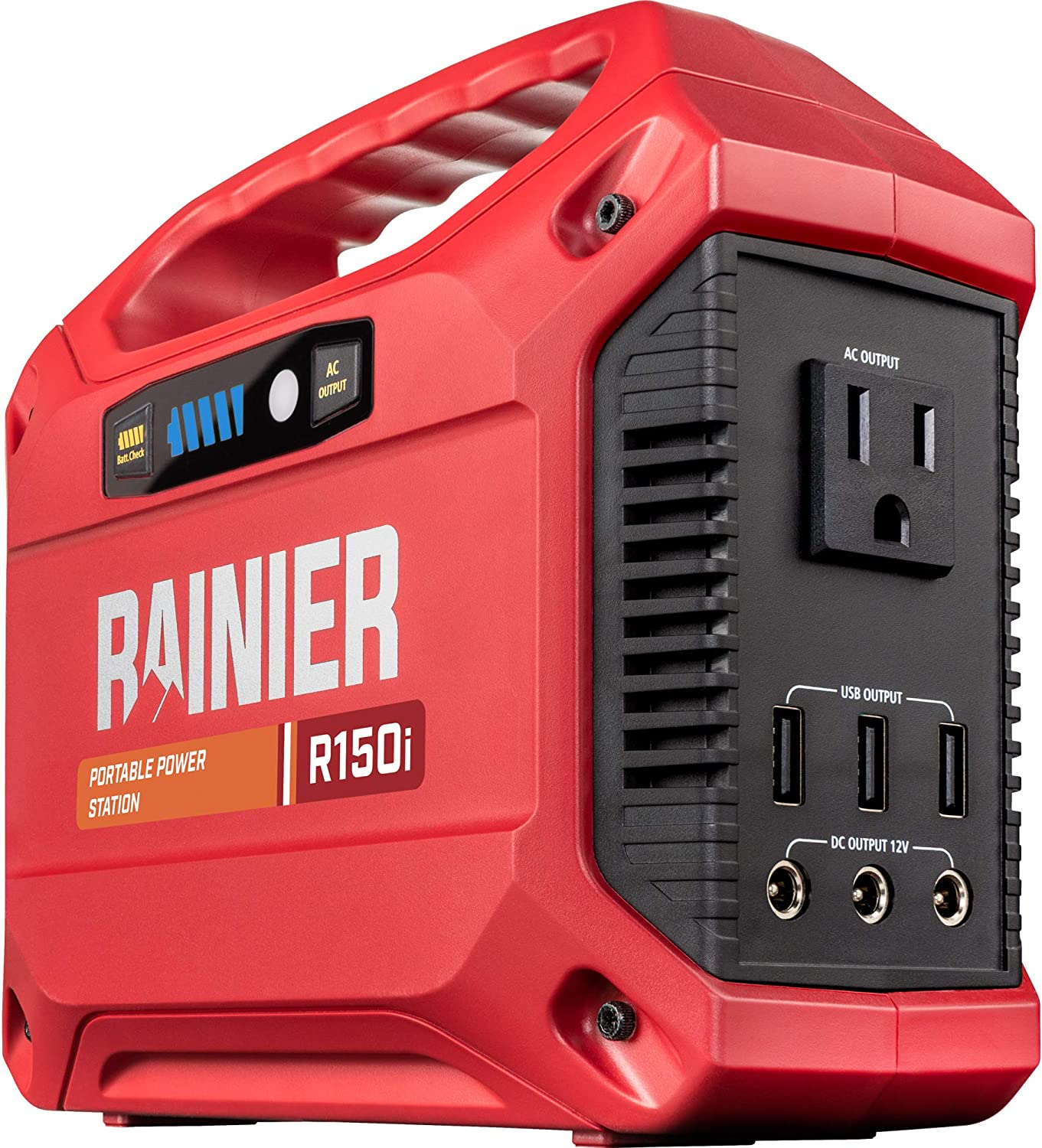 Rainier Outdoor Power Equipment R150i Portable Power Station 155 Wh Backup Lithium Battery, 110V/100W AC Outlet, Solar Generator