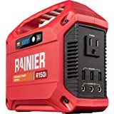 Rainier Outdoor Power Equipment R150i Portable Power Station 155 Wh Backup Lithium Battery, 110V/100W AC Outlet, Solar Genera