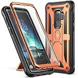 Galaxy S9+ Plus 手机壳,YOUMAKER 带内置屏幕保护膜防震手机壳适用于三星 Galaxy S9 Plus 6.2 英寸(2018 版本) Orange/Black [Fit Galaxy S9+ Plus 6.2 inch]