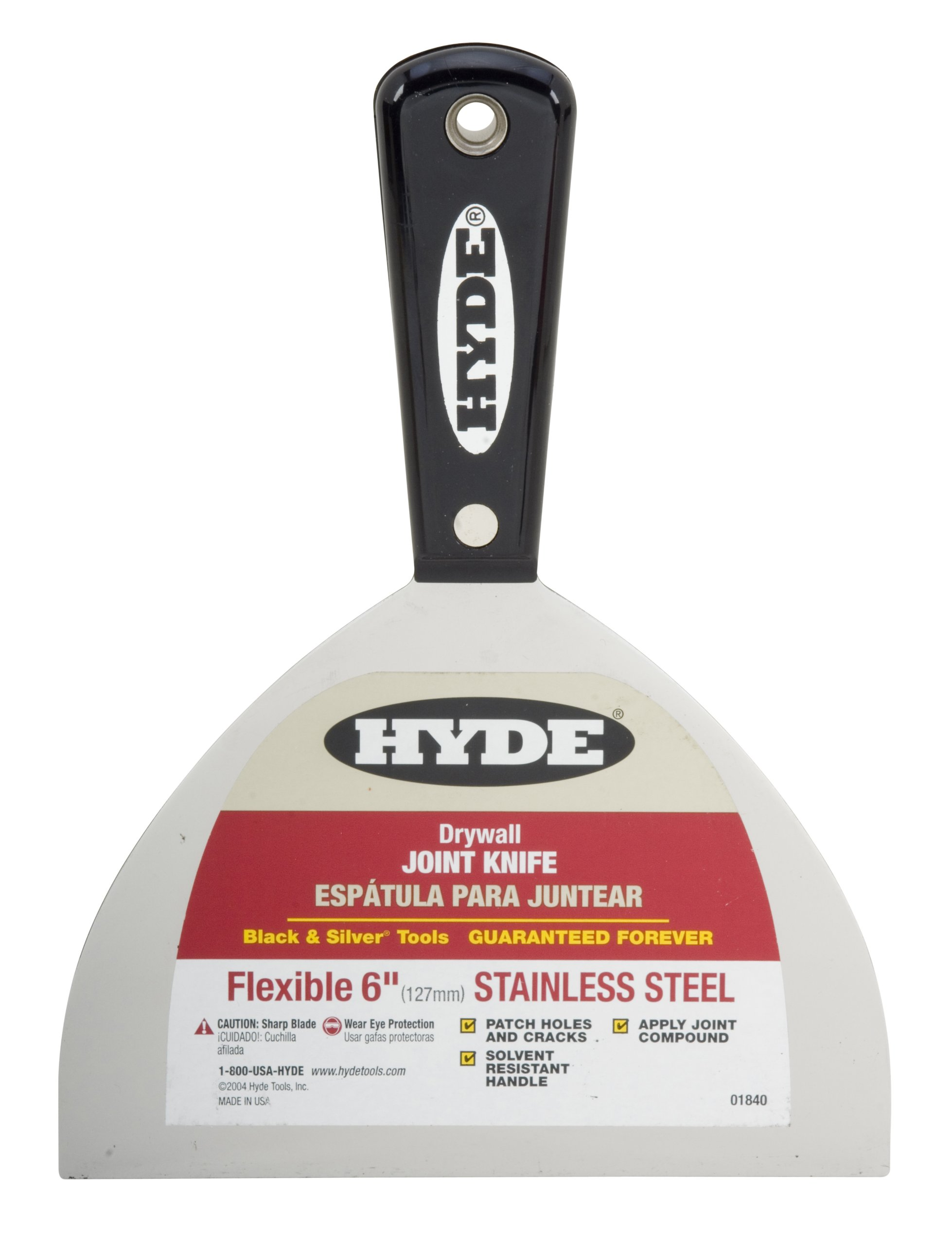 Hyde Tools 01840 6-Inch Stainless Steel Joint Knife, Black and Silver