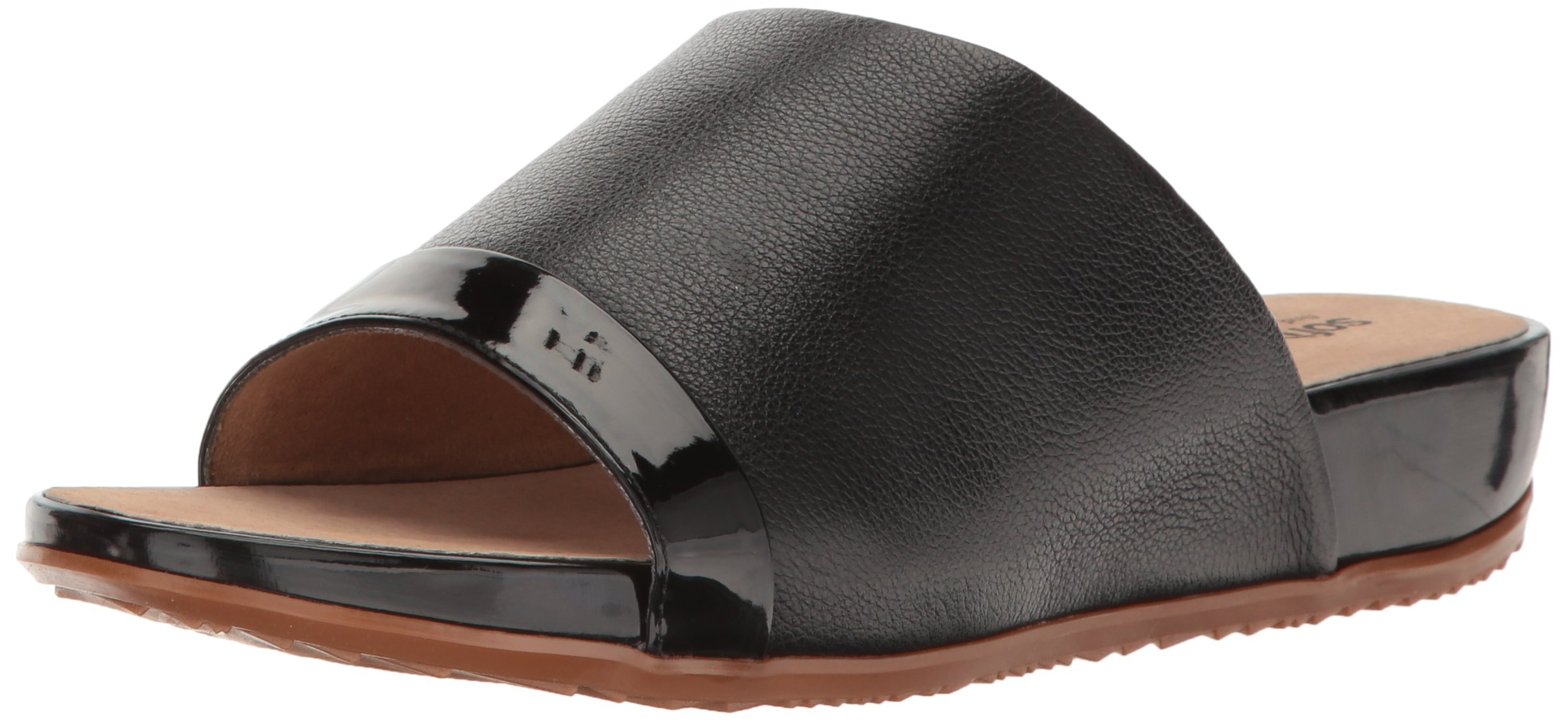 SoftWalk Women's Del Mar Wedge Slide Sandal, Black, 9 M US