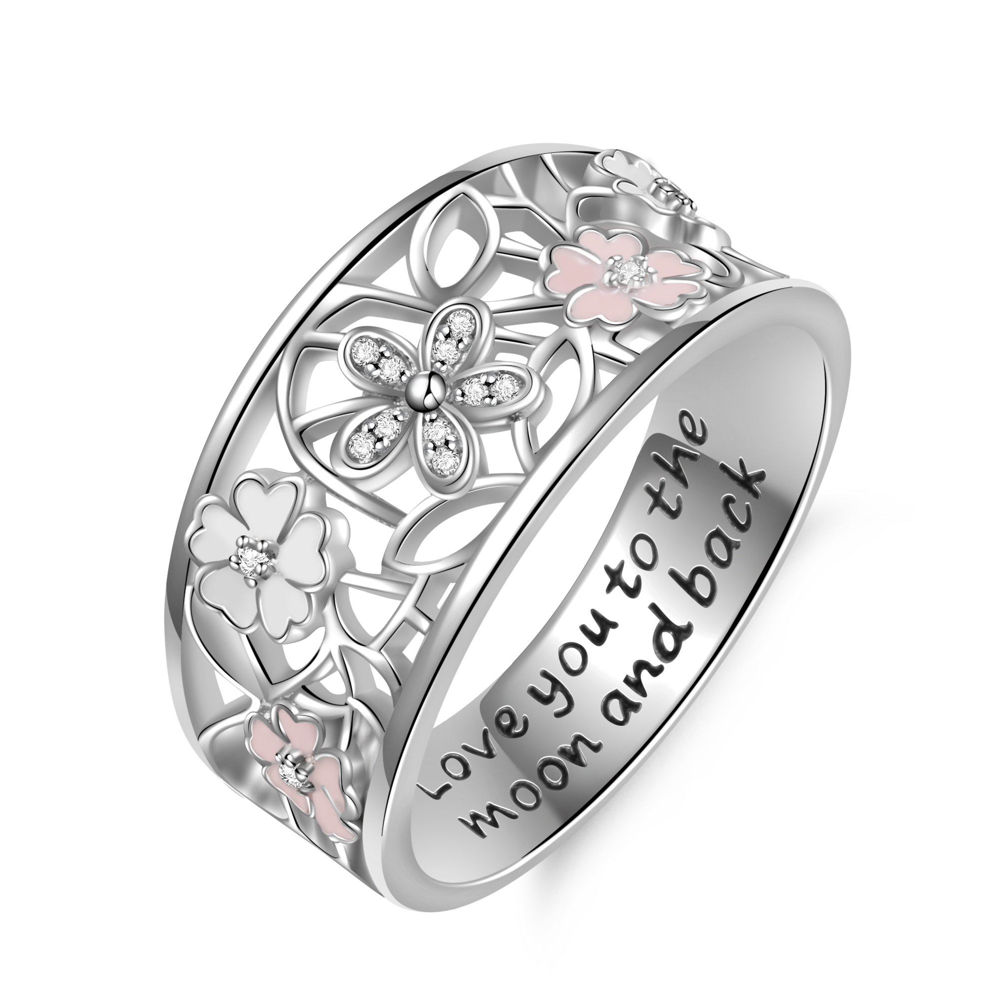 Angemiel 925 Sterling Silver Cubic Zirconia Flower Promise Ring For Women Jewelry Family Friend Love (9)