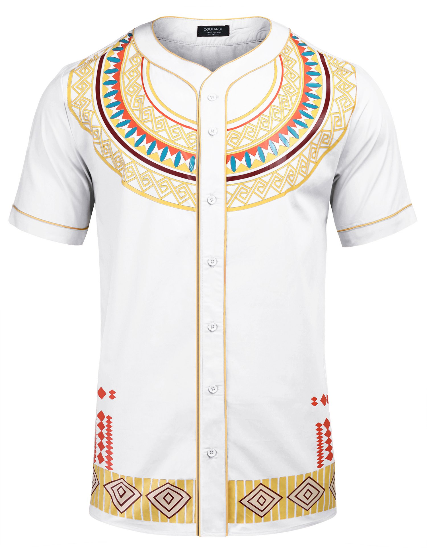 COOFANDY Mens African Dashiki American Casual Button Down Shirt Short Sleeves,White,Large