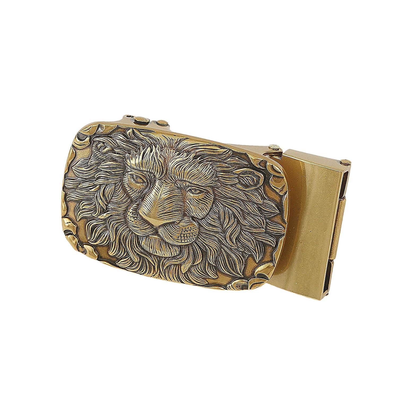 Gurscour Mens Lion Head Automatic Belt Buckle 1.4//36mm Retro Copper