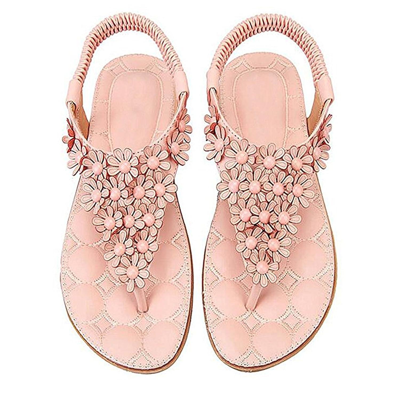 SJYO Women's Flat Sandals Flip Flop Slippers Sandals Flat Beach Sandals for women B071JJ4FHS 7 B(M) US|Pink