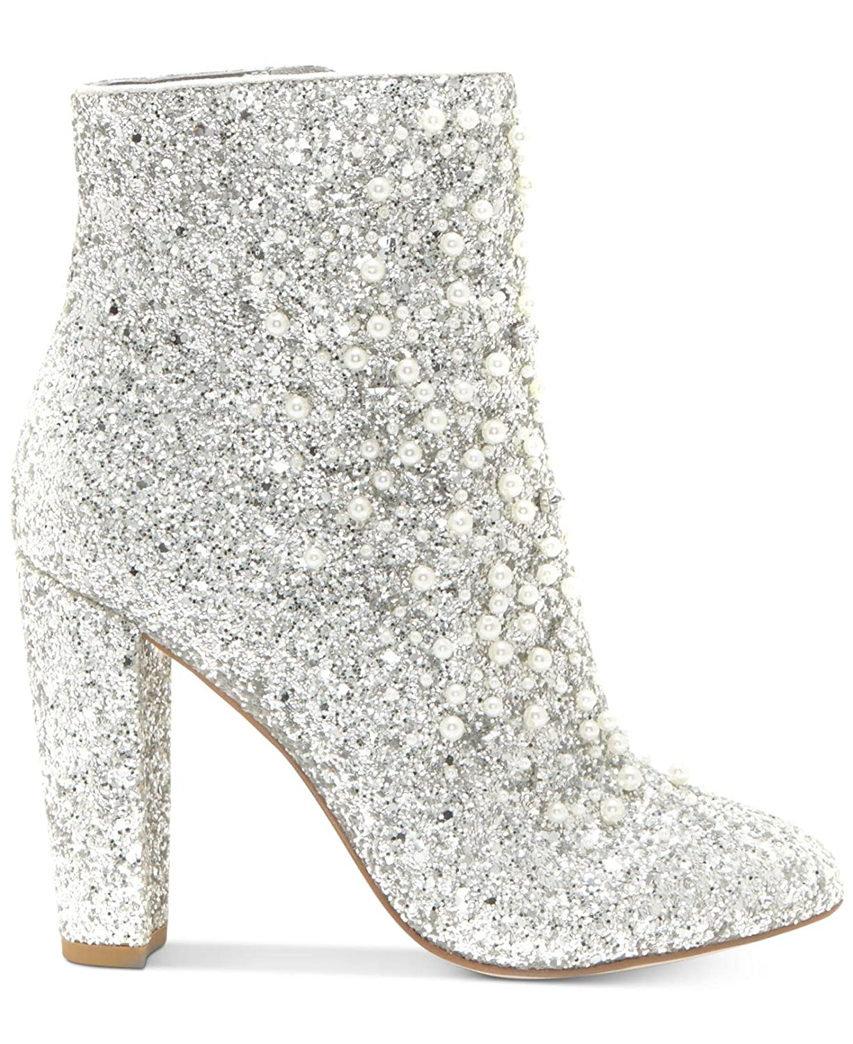 620b7e8b424 Jessica Simpson Starlite Silver Glitter Pearl Embellished Block Heel Ankle  Booties