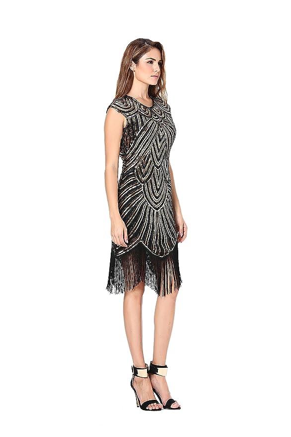 2fb0b599 Clothin - Vestido de lentejuelas y flecos para mujer, estilo años 20,  estilo «Gran Gatsby». Q3-Luxury black gold X-Large: Amazon.es: Ropa y  accesorios