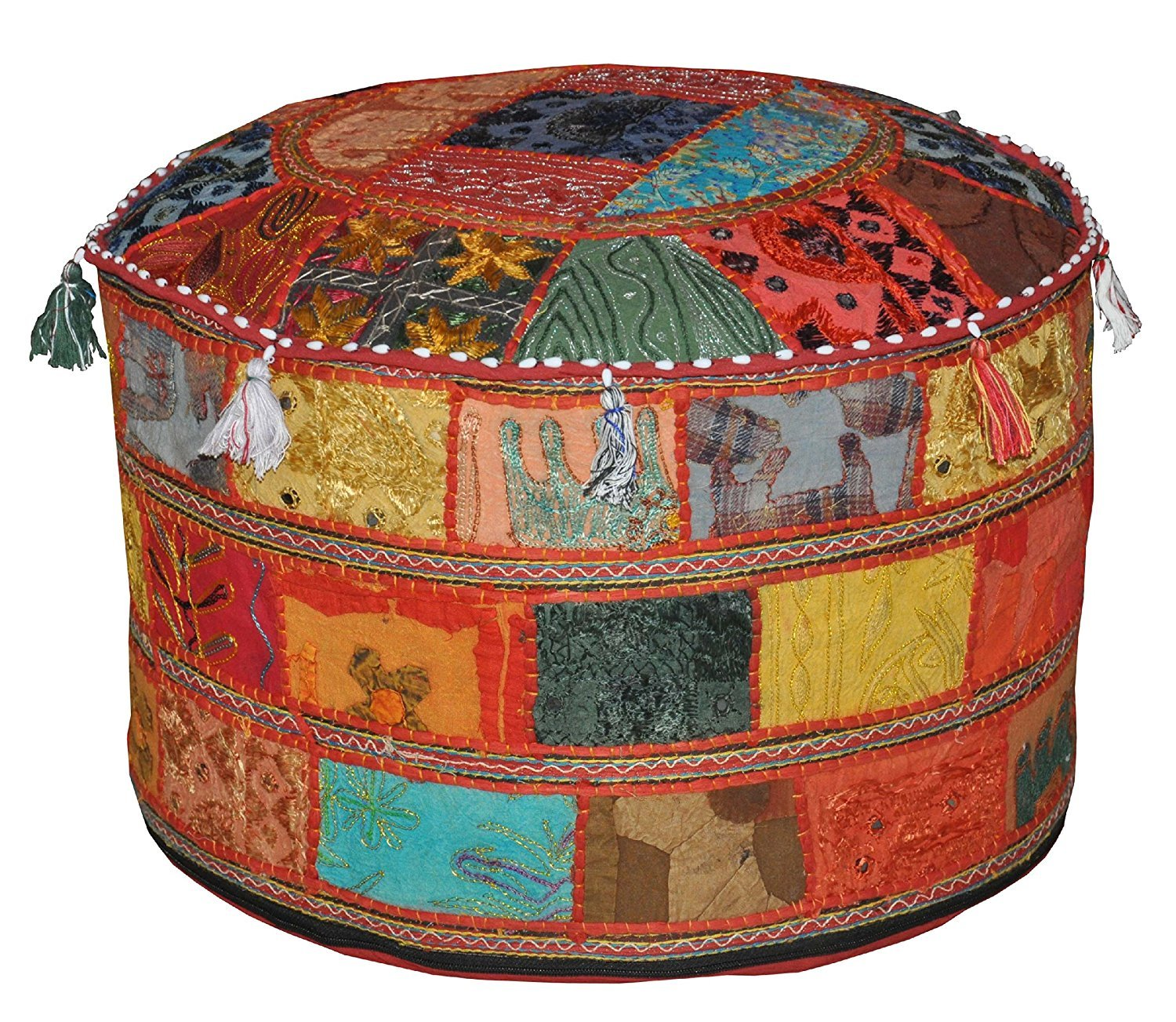 Indian Living Room Pouf, Foot Stool, Round Ottoman Cover Pouf,Traditional Handmade Decorative Patchwork Ottoman Cover,Indian Home Decor Cotton Cushion Ottoman Cover 22x15inche (Yellow) Dharohar Handicrafts