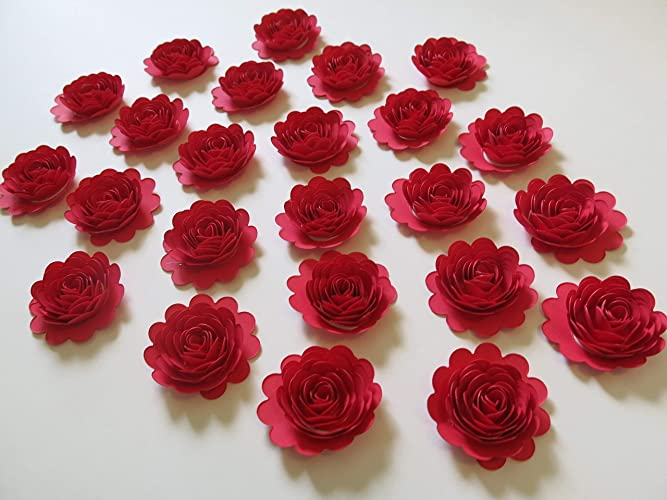 Amazon Com 24 Red Carnations 1 5 Scalloped Rose Paper Flowers