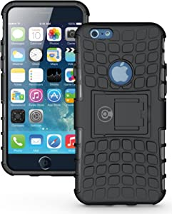 iPhone 6S Case, iPhone 6 Case Black by Cable and Case - [Heavy Duty] Tough Dual Layer 2 in 1 Rugged Rubber Hybrid Hard/Soft Impact Protective Cover [with Kickstand] Shipped from The U.S.A. - Black