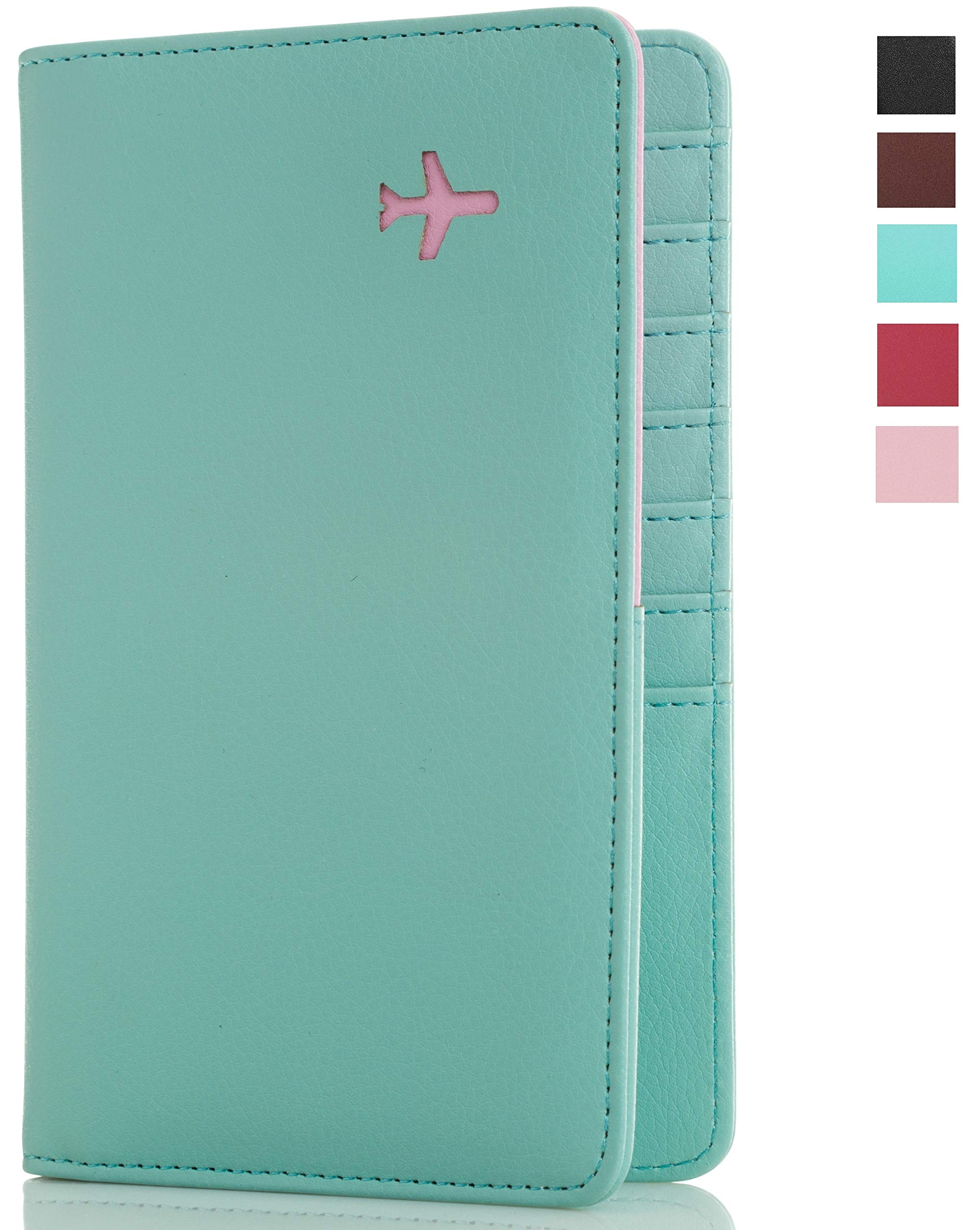 All in One Travel Wallet - 2 Passport Holder + Gift Box/cash tickets cards pen (Mint Sky)