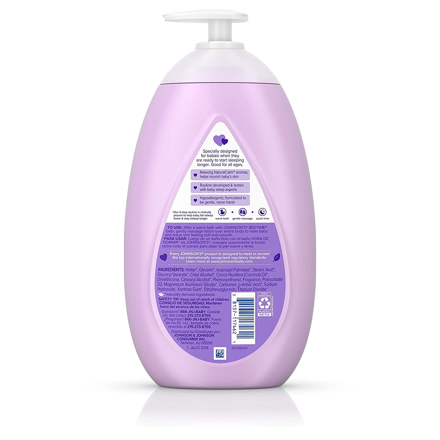 Johnson's Bedtime Baby Lotion with NaturalCalm Essences, Hypoallergenic & Paraben Free, 27.1 fl. oz