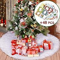 Joyjoz Jupe De Sapin de Noël, Blanc Peluche Neige Décorations d'arbre de Noël avec 48pcs autocollants pour cadeaux de Noël, Tapis Pied de Sapin pour décorations de Noël, Christmas Tree Skirt