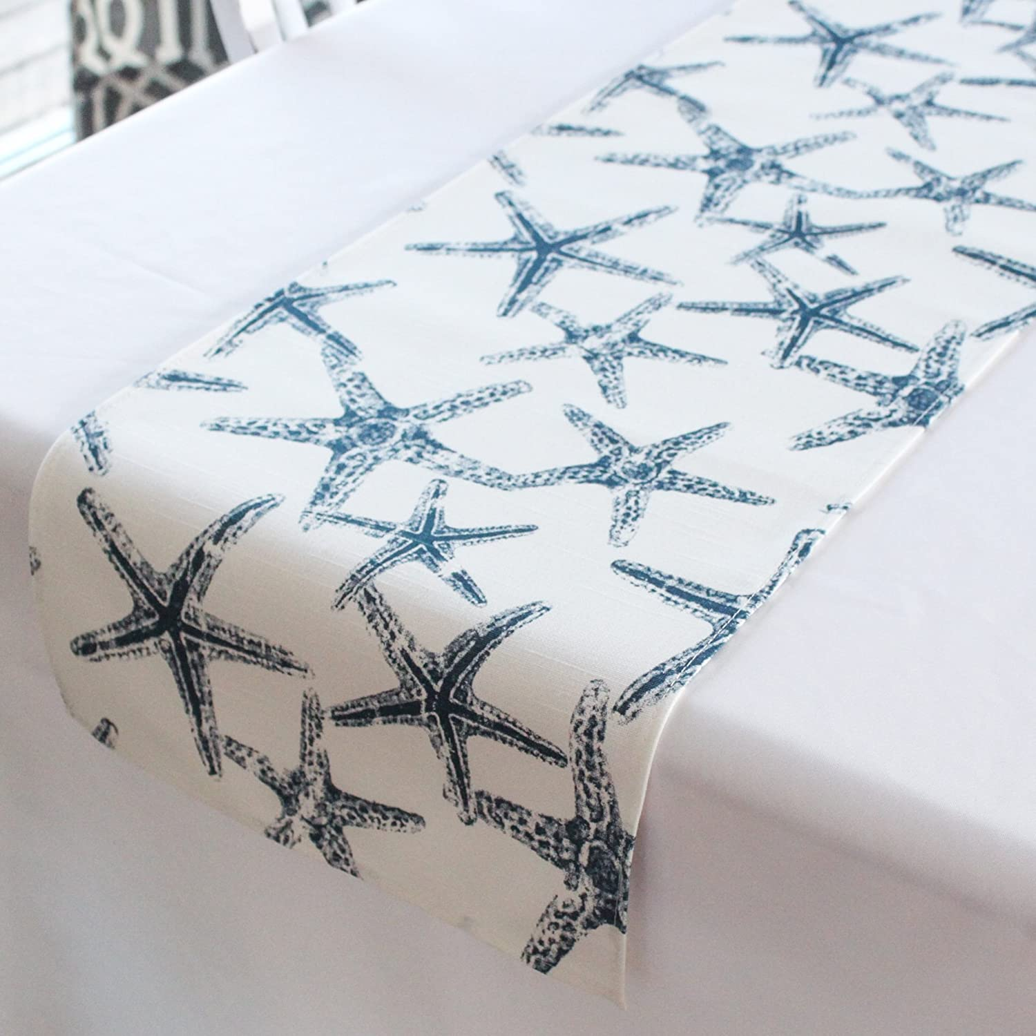 12x108 inches Navy and white starfish nautical wedding table runner baby shower beach decor