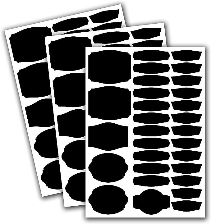 Candy Bar Sticker per scrivere e fai da te Vasetti 90/Etichette in cucina di pellicola Vasetti per vasetti di marmellata Bianco bianco opaco