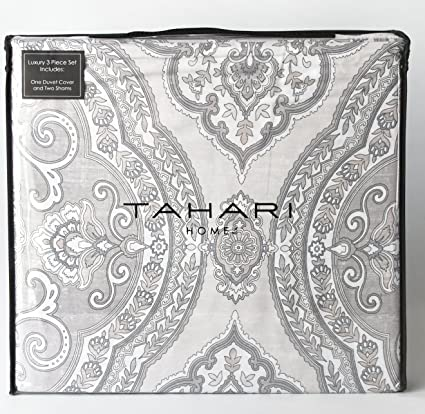 Tahari Home Luxury Bohemian Duvet Cover Luxury Boho Style Medallion Print  In Blue Grey 3 Piece
