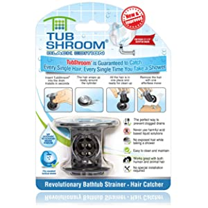 TubShroom Chrome Edition Revolutionary Tub Drain Protector Hair Catcher, Strainer, Snare, Black