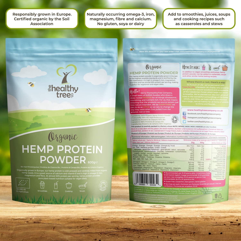 Proteína de Cáñamo Orgánico en Polvo de TheHealthyTree Company - Cosechado en Europa - Vegano, Alto en Omega-3, Hierro, Aminoácidos y Magnesio - ...