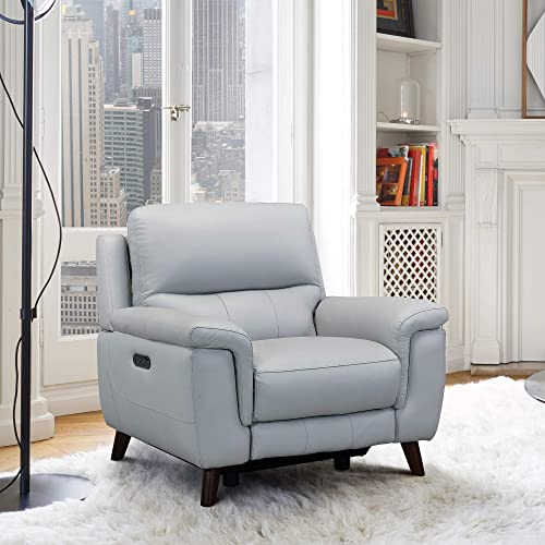 Armen Living Lizette Contemporary Top Grain Leather Power Reclining Living Room Accent Chair