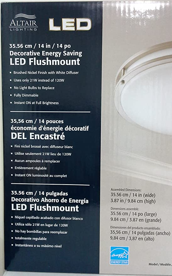 Altair Lighting Brushed Nickel 14 Wide Flushmount Ceiling Light LED 21W Dimmable 3000K Energy Star - - Amazon.com