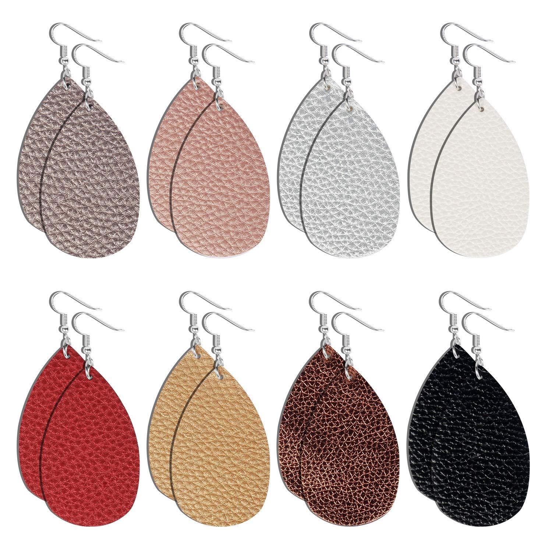 3cf06aac3531d GMAOPHY 8 Pairs Teardrop Leather Earrings Petal Drop Earrings Antique  Lightweight Leather Earrings for Women/Girls/Birthday/Anniversary/Mother's  ...