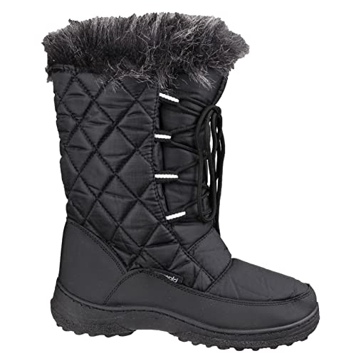 Cotswold Ladies Gale Faux Fur Trim Waterproof Leather Snow Boot Black