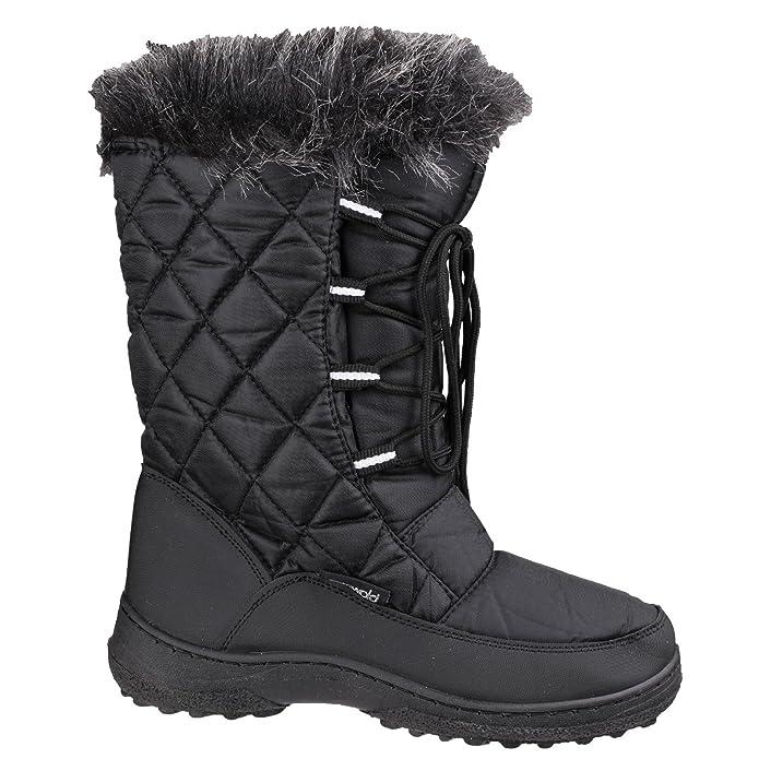 Cotswold Ladies Gale Faux Fur Trim Waterproof Leather Snow Boot Black EJTfYBV