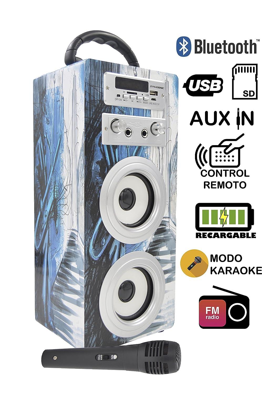 DYNASONIC 025 Haut-parleur Bluetooth avec karaoké, lecteur USB et SD et Radio Modelle 8 Easo Plus Corporate 025-8